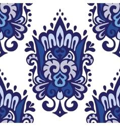 Luxury Damask seamless pattern blue background vector image