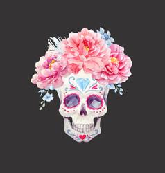 nice watercolor skull vector image vector image