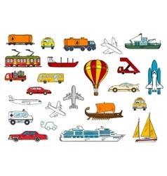 Road air railroad water transportation symbols vector image