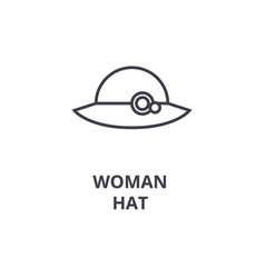 woman hat line icon outline sign linear symbol vector image vector image