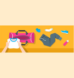 woman puts fitness stuff into sport bag banner vector image vector image