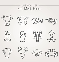 Animal Meat Seafood and Eating Icons Set vector image