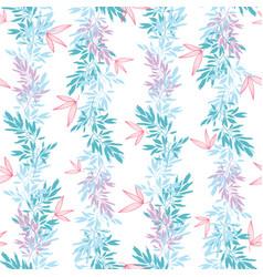 blue pink tropical leaves summer vertical vector image