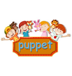 Children playing hand puppets vector