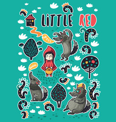 collection of stickers with little girl and vector image