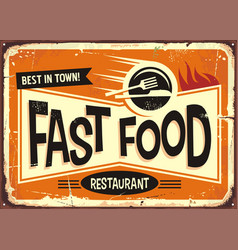 Fast food restaurant vintage tin sign design vector