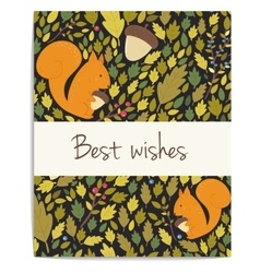forest card with acornsleaves and squirrel vector image vector image