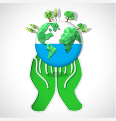 globe in hand vector image vector image