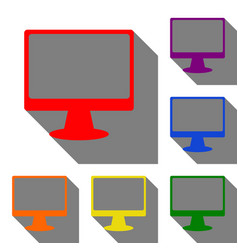 monitor with brush sign set of red orange vector image