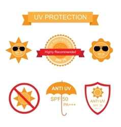 Set of UV Sun Protection and anti UV icons vector image vector image