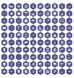 100 helmet icons hexagon purple vector