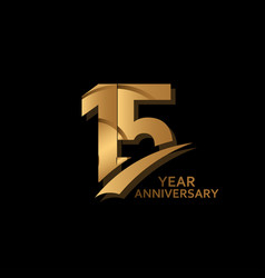 15 years gold elegant anniversary celebration vector