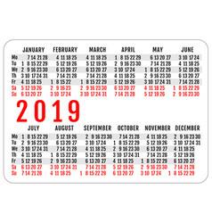 2019 horizontal pocket calendar grid template vector