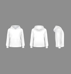 3d realistic hoodie sweatshirt white mockup vector