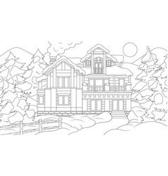 a house in forest vector image