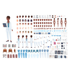 African american female doctor constructor set vector