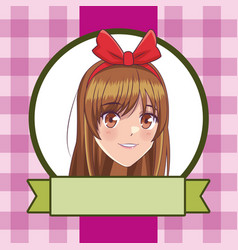 Anime manga girl vector