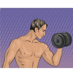 Athletic man with dumbbell vector