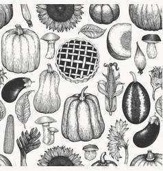autumn season food seamless pattern hand drawn vector image