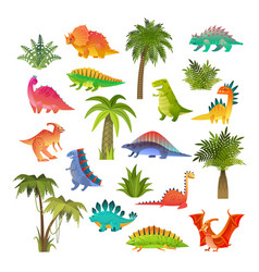 Baby dino set funny animal dragon and cute nature vector
