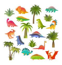 Badino set funny animal dragon and cute nature vector
