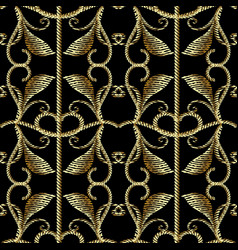 baroque gold embroidery style 3d seamless patter vector image