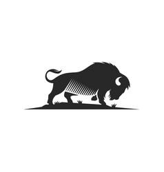 bison logo design template vector image