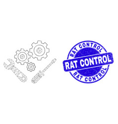 Blue scratched rat control seal and web mesh vector