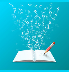 book with flying letters art vector image