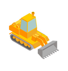 Bulldozer isometric style isolated agrimotor 3d vector
