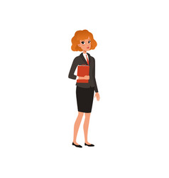 Business woman in formal suit with folder in hands vector