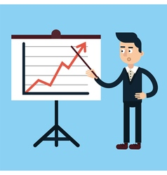 Businessman Behind Stand with Chart vector image