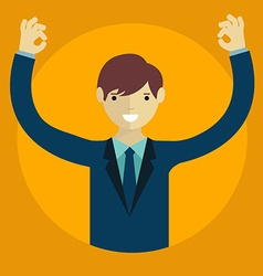 Businessman showing okay hand gesture Ok hand sign vector