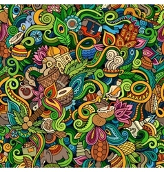 Cartoon cute doodles hand drawn indian culture vector