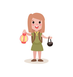 Cartoon girl scout holding red coleman lantern and vector