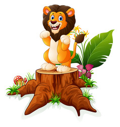 Cartoon lion posing on tree stump vector