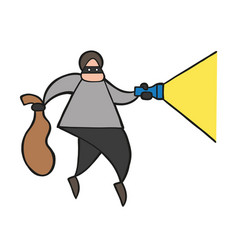 cartoon thief man with face masked walking and vector image