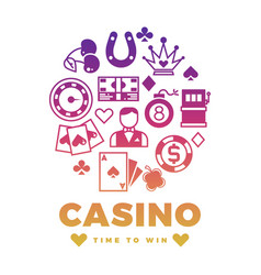 casino label design with colorful icons round vector image
