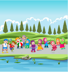 children and their parents are holiday vector image
