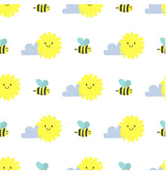 clouds sun weather bee cloudy summer blue vector image