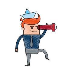 Color pencil cartoon full body cartoon man leader vector