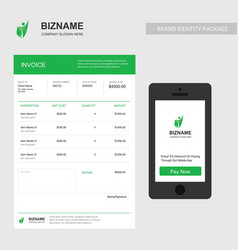company invoice design with smart phone app vector image