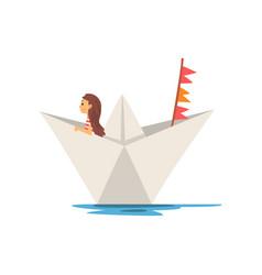 Cute little girl boating in paper boat vector