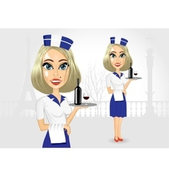 Cute realistic waitress holding serving tray vector