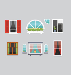 different interior windows of various forms vector image