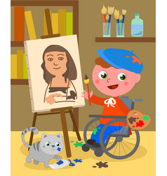 Disabled painter studio vector