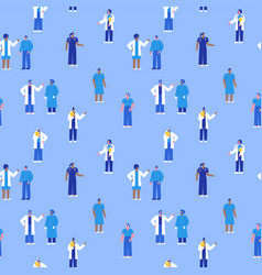 diverse hospital doctor people seamless pattern vector image
