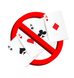 do not play gamble suit card prohibition sign vector image