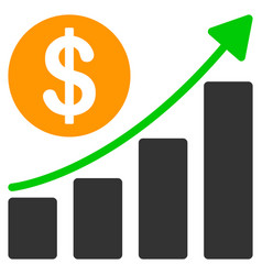 dollar growth graph flat icon vector image