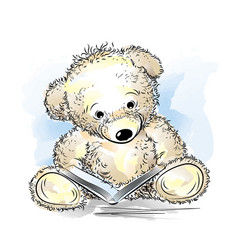 drawing teddy bear with book vector image